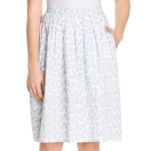 Michael Kors A-Line Pleated Blue Embroidered Skirt